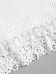 Acanalado De De Camiseta Blanco Encaje Tirantes FqI7nxwnaT