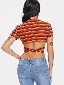 Stripe Tee M Crop Twist Bowknot Rojo RAv7SR