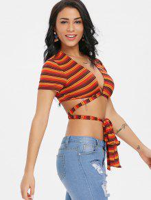 Twist Stripe Rojo Bowknot Crop M Tee 55vSxrn0