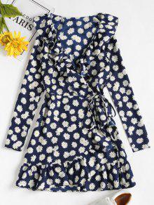 ديزي طباعة الكشكشة البسيطة التفاف اللباس - منتصف الليل الأزرق M