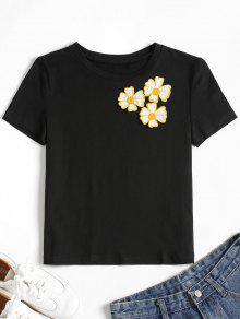 Apliques Bordada De Florales Camiseta Negro M EqaSnnw