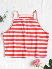 Stripes Frijol Rojo S Cropped Top Cami Tq61PwTz