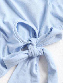Claro S Anudada A Hombros Azul Blusa wRIXUxwq