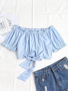 Blusa Anudada A Hombros - Azul Claro S
