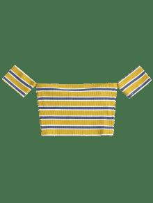 L Multicolor Stripes Camiseta Off Shoulder 7x6qH1