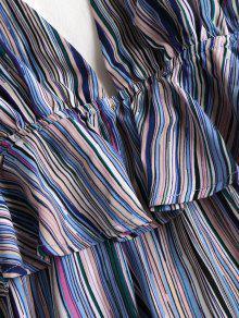 De Vestido Con Rayas Multicolor S Volantes Halter 0qSwf