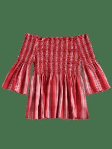 Rojo Frijol Smocked Hombro El Revisado S Top fwqI0M8O