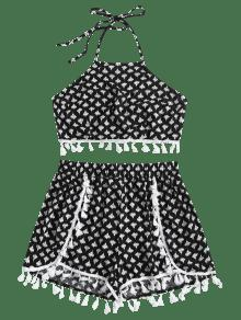 Pantalones Cortos Impresi Conjunto De Floral Negro Borlas S De 243;n De ES5qgBq