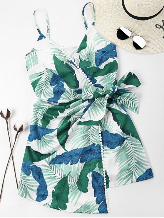 outfit Leaves Print Overlap Dress - LIGHT SEA GREEN L