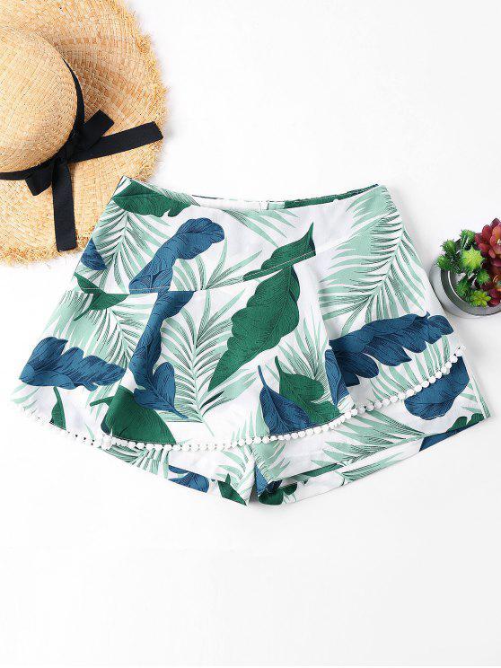 Folhas Imprimir Crochet Trim Shorts - Verde Claro do Mar M