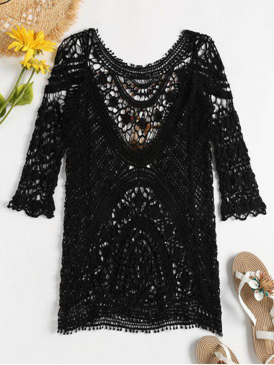 sale Crochet Beach Dress - BLACK ONE SIZE