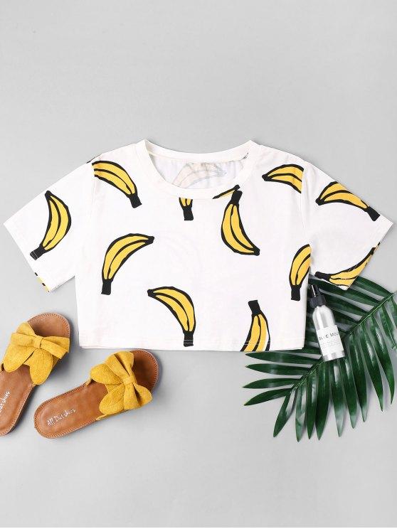 Camiseta estampada con estampado de banana - Blanco S