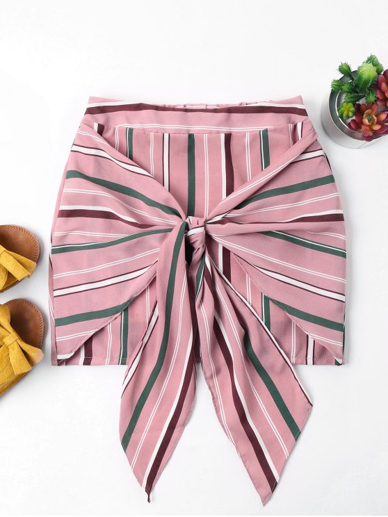 hot Striped Knotted Skirt - LIGHT PINK XL
