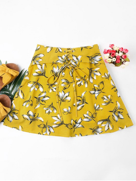 shops Floral Print Lace Up Skirt - GOLDEN BROWN XL
