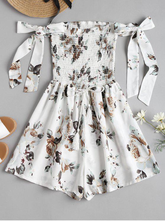 best Tie Sleeve Floral Smocked Cute Romper - WHITE XL