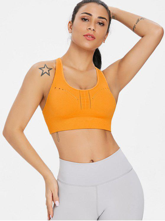 trendy Ribbed Padded Mid Impact Sports Bra - ORANGE S