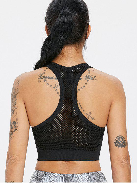 affordable Stretch Knit Mesh Seamless Sports Bra - BLACK S