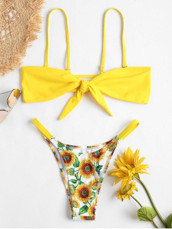 Bikini bandeau delantero con lazo de girasol - Amarillo L
