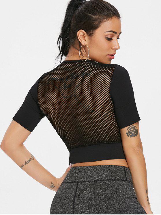 T-shirt sans couture de retour de maille de dos - Noir L