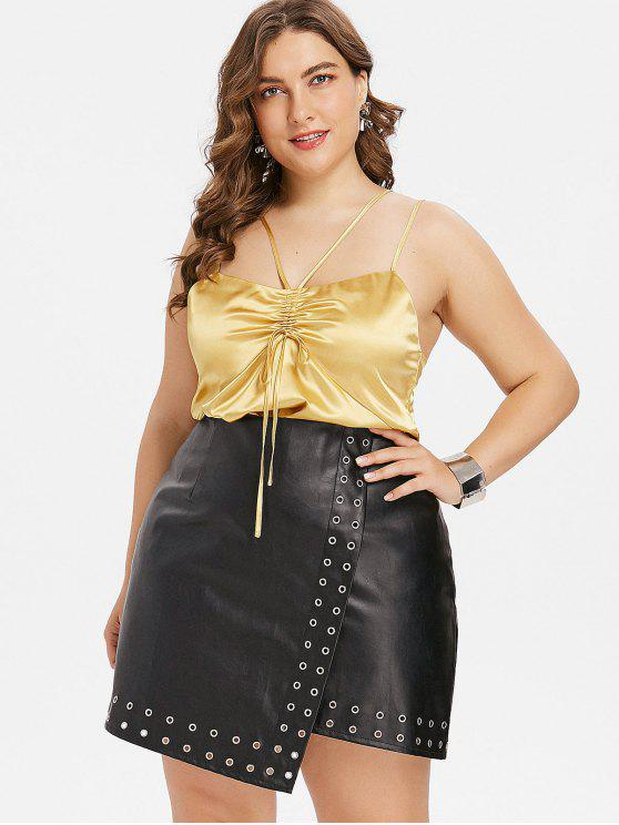 Plus Size Ruched Tie Cami Top - Amarelo do Sol 2X