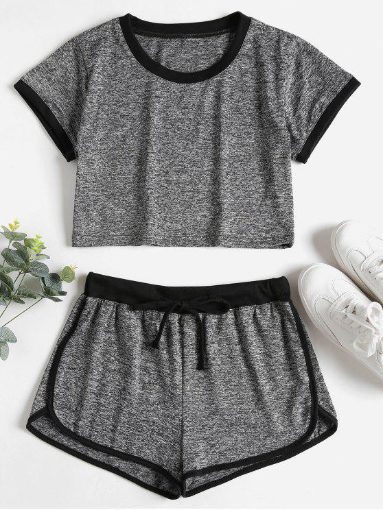 Kontrast Bindung Crop Top Shorts Trainingsanzug - Dunkelgrau S