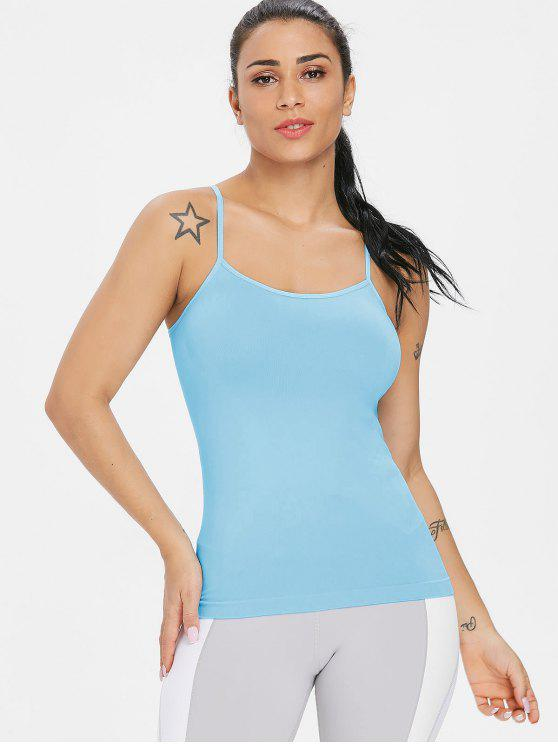 sale Seamless Gym Workout Tank Top - LIGHT SKY BLUE ONE SIZE