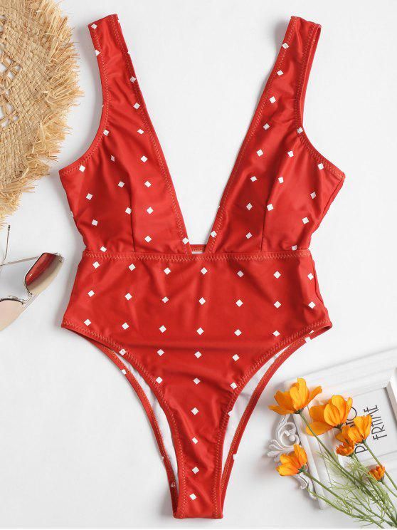 outfits Low Cut High Leg Swimsuit - CHESTNUT RED S