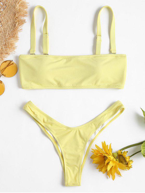 best Ribbed Bandeau Bikini Set - CREAM L