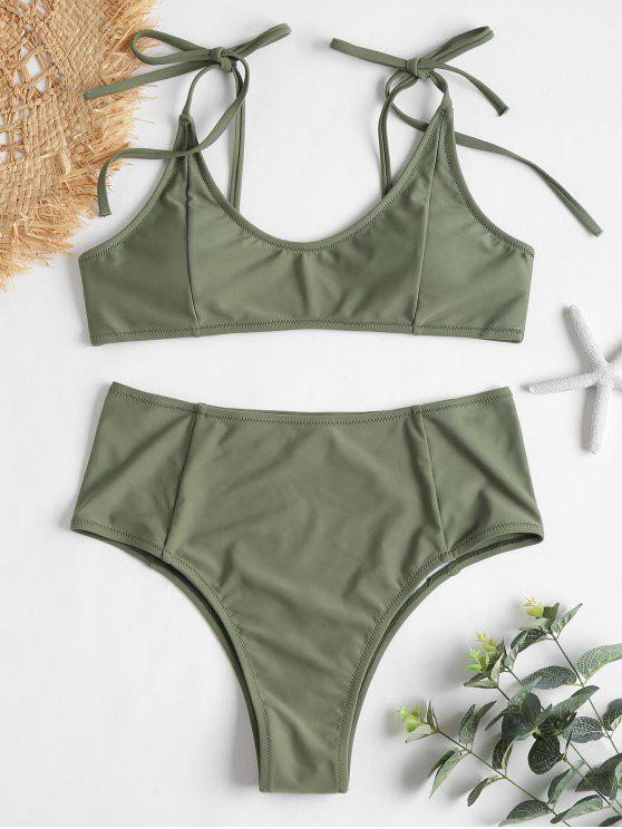 Tie Shoulders High Waisted Bikini Set - الظلام البحر الاخضر S