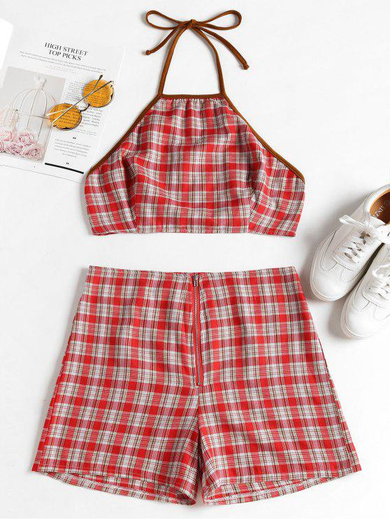 chic Knotted Plaid Top and Shorts Set - RED L