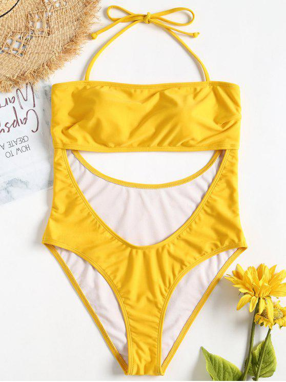 Halter Cut Out Swimsuit - Caucho Ducky Amarillo S