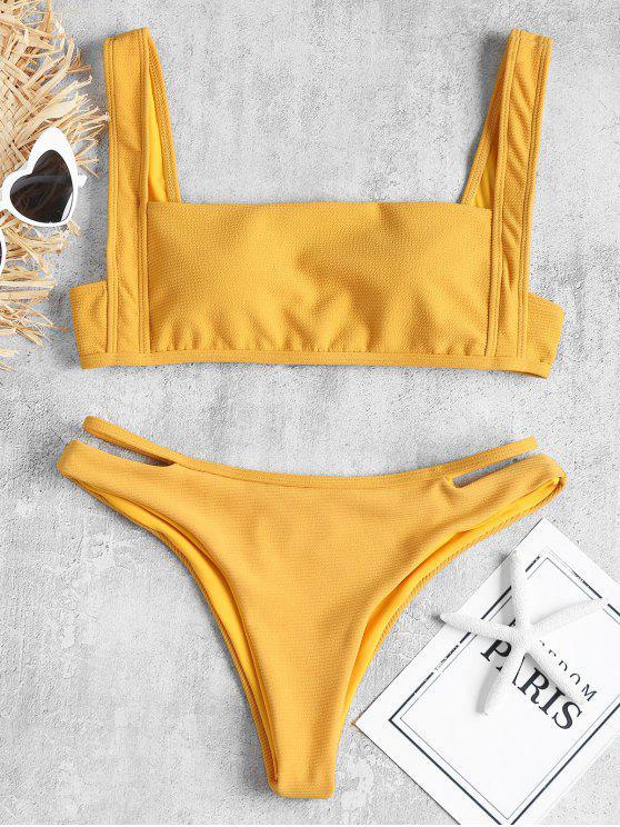 Conjunto de bikini acanalado de canalé recortado - Amarilla de Abeja  S
