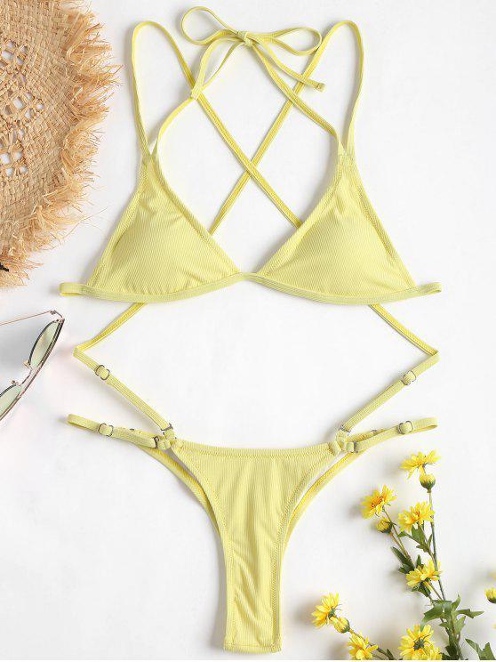 Gerippter String Bikini Set - Sahne L