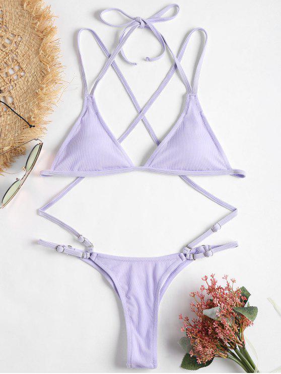 Gerippter String Bikini Set - Lavendel Blau M