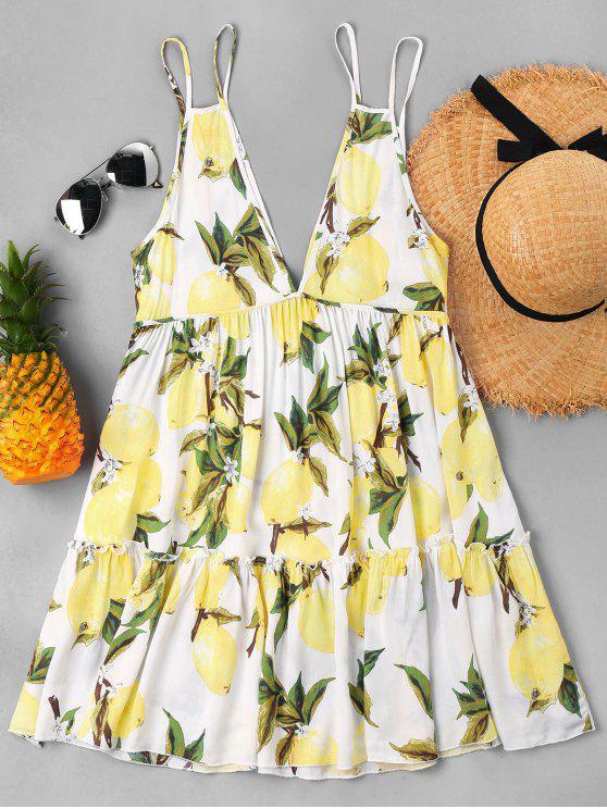 فستان ليمون طباعة كامي - الأصفر XL