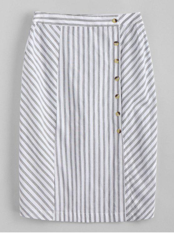 womens Side Button Stripes Midi Skirt - WHITE L