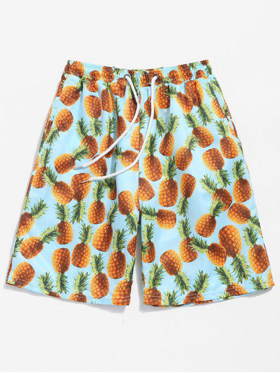 best Back Flap Pocket Pineapple Print Beach Shorts - BLUE ZIRCON XL