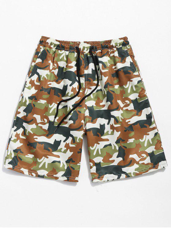 Shorts de praia de bolsos de impressão Camo com cordão - Verde de Camuflagem L