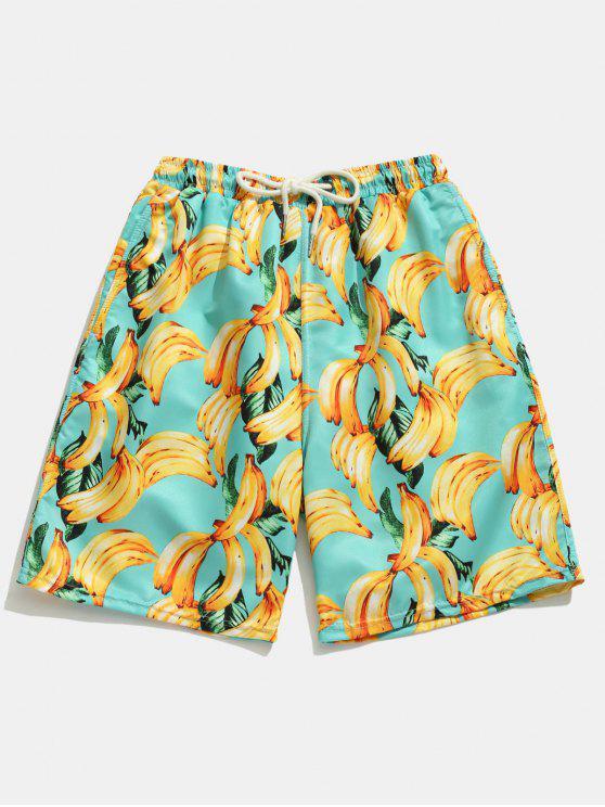 latest Pocket Banana Printed Board Shorts - BLUE ZIRCON S