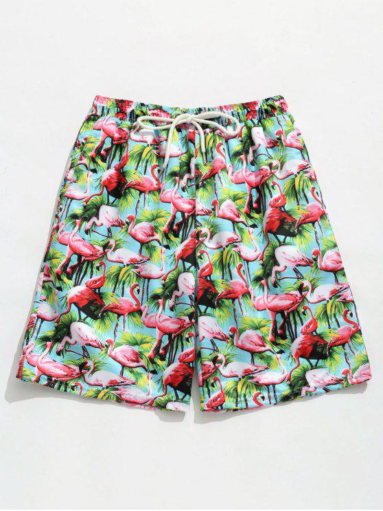 women Elastic Drawstring Waist Flamingo Print  Beach Shorts - MACAW BLUE GREEN L