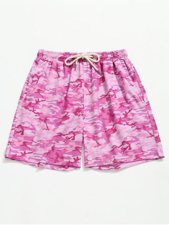 lady Camouflage Cargo Pocket Beach Shorts - HOT PINK M