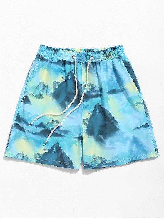 latest Mountains Ink Painting Board Shorts - MACAW BLUE GREEN XL