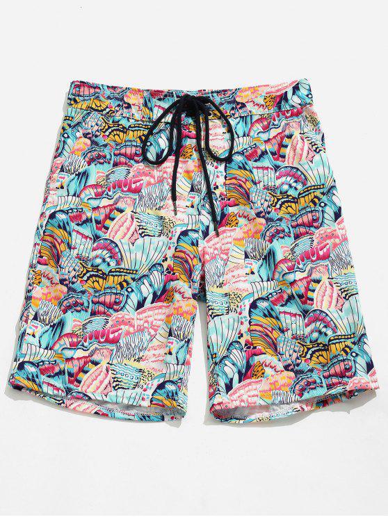 Shorts estampados con estampado de mariposa de bolsillo - Margaritas Rosas XL