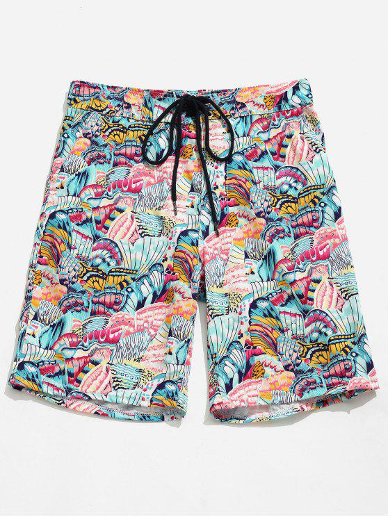 chic Pocket Butterfly Printed Board Shorts - PINK DAISY L