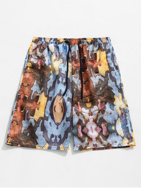 lady Print Elastic Drawstring Waist Pockets Beach Shorts - LIGHT BROWN S