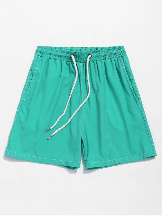 Pantaloncini Da Spiaggia Elastici Per Fianchi A Tinta Unita - Blu Verde  Macaw  XL