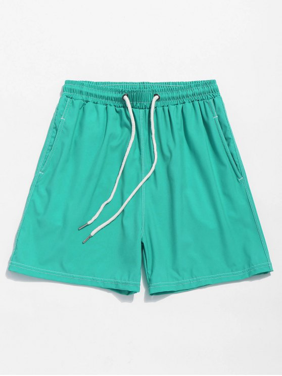 new Solid Color Elastic Wasit Beach Shorts - MACAW BLUE GREEN M