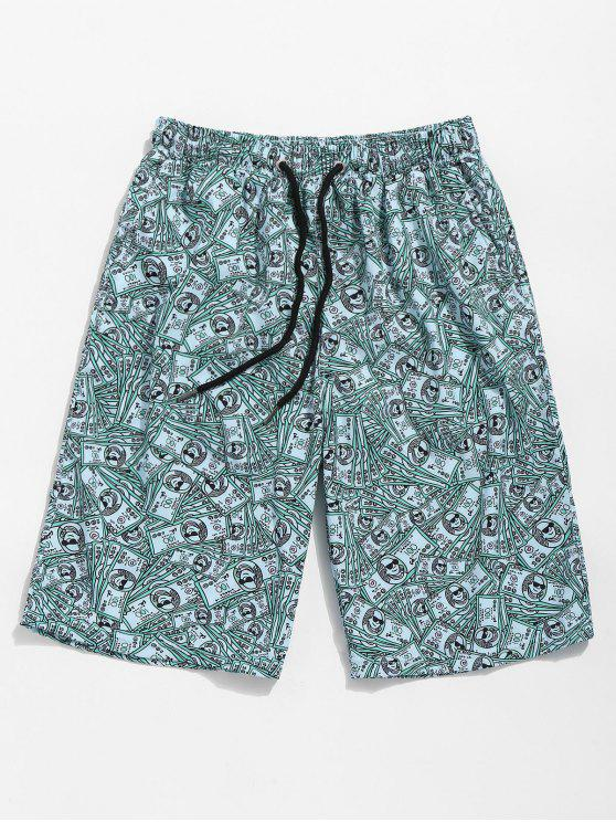 chic US Dollars Print Board Shorts - BEETLE GREEN XL