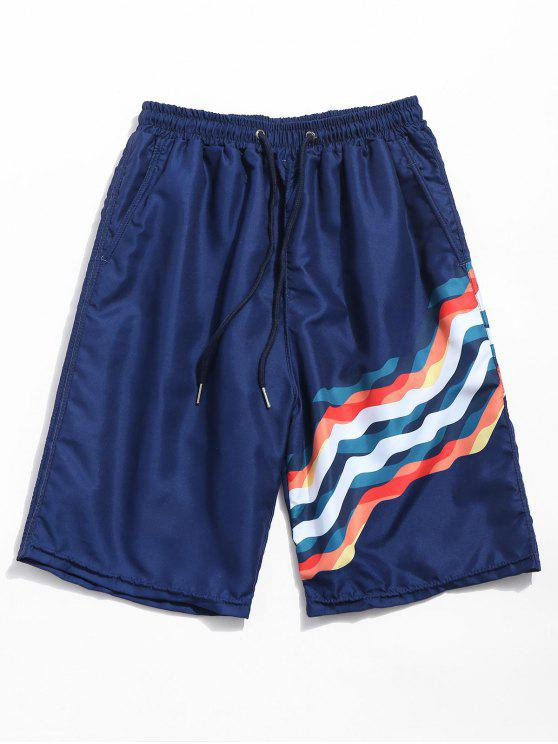 womens Drawstring Wavy Line Print Beach Shorts - DEEP BLUE L