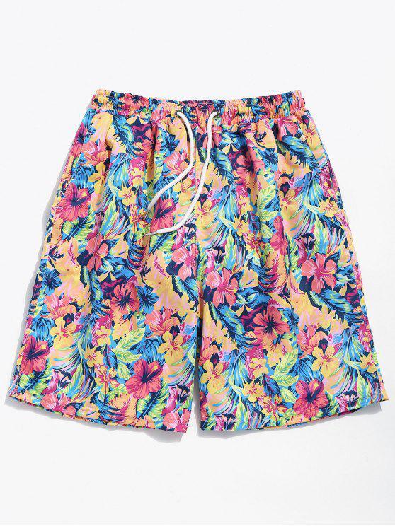 Sommerblumen Druck Kordelzug Strand Shorts - Wassermelonen Rosa XL